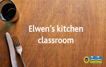 Learning all about cooking in Elwen's kitchen classroom
