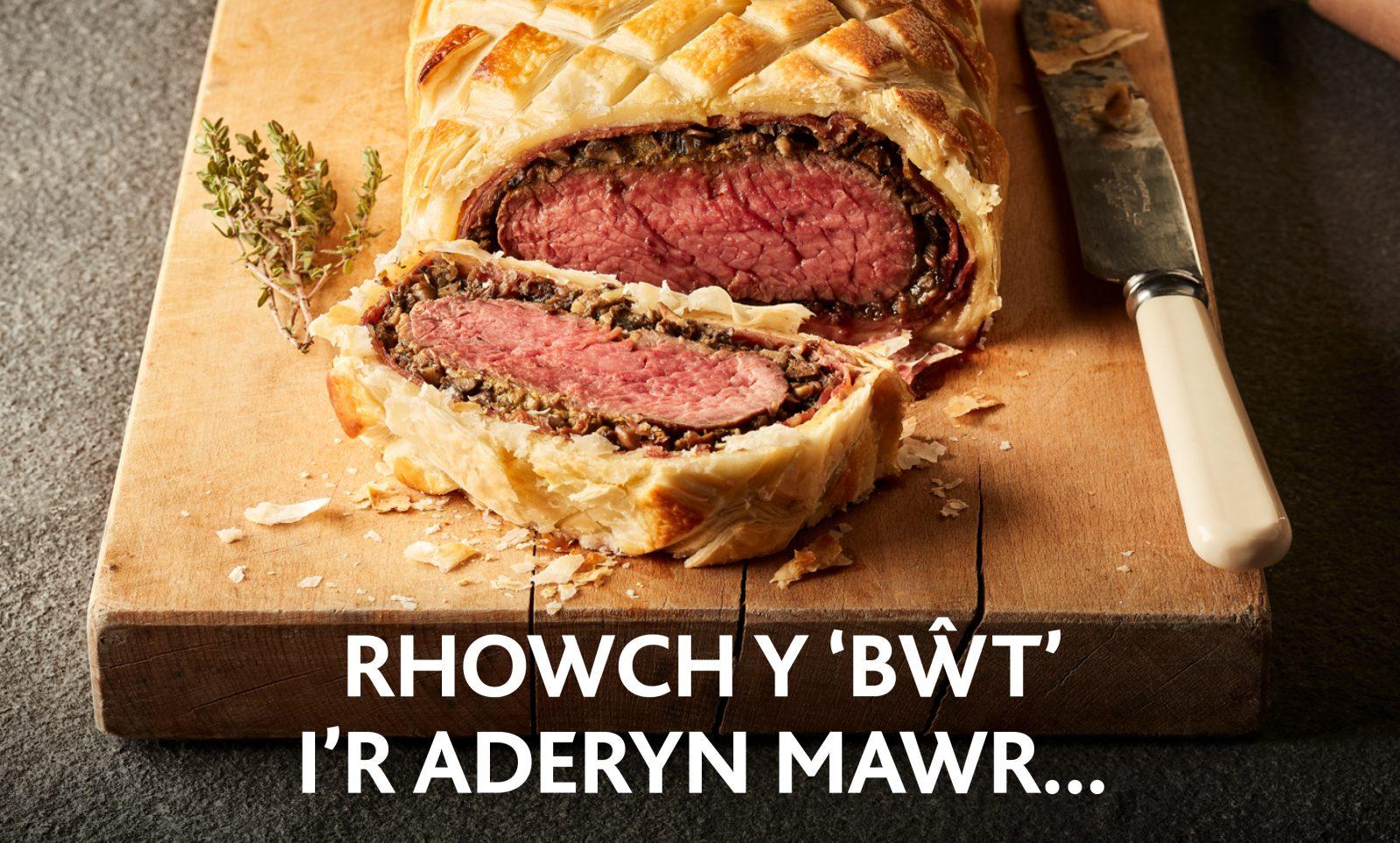 Rhowch y 'bŵt' i'r aderyn mawr y Nadolig hwn (gyda help Cig Eidion Cymru!)